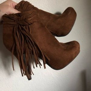 Brown suede booties size 6
